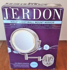 Jerdon HL65N 8-Inch Lighted Wall Mount Makeup Mirror with 5x Mag. *open box*