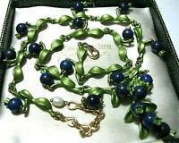Vintage Style Art Deco Real Lapis Lazuli Stone BEAD Blueberries Enamel NECKLACE