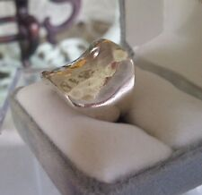 Amazing Vintage Mexico Hammered Sterling Silver 925  Square Saddle Ring ~ Sz. 8