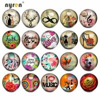 Mixed Themes Luminous Glass Snap Charms 18mm Snap Button For Snap Jewelry HM097
