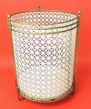 Vtg 50s 60s White Mesh See Through Metal Retro Waste Basket Trash Can 2 Piece