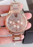Michael Kors Women's Janelle Chronograph Rose Gold-Tone & Pave Watch MK7178