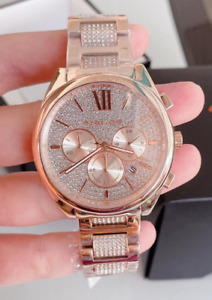 Michael Kors Women's Janelle Chronograph Rose Gold-Tone & Pave Watch MK7178