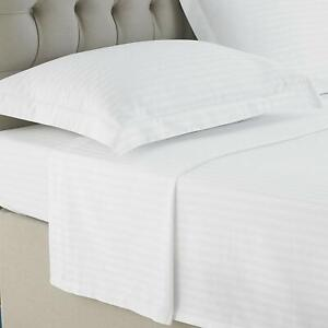 LUXURY FLAT SHEET SATIN STRIPE 100% EGYPTIAN COTTON TOP HOTEL QUALITY BED SHEETS