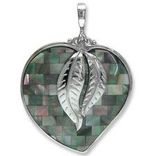 Offerings Sajen 925 Sterling Silver Mosaic Black Rainbow Shell Heart Pendant