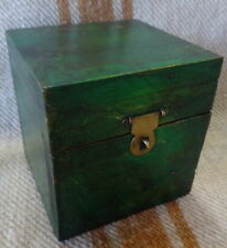 Box for Trinkets Set 2pc Green and Salmon Distressed Paint 10x10x10cm