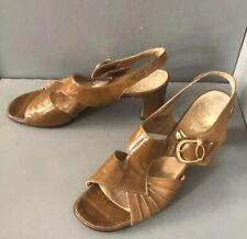 Mod 60s Retro vintage brown high heels patent leather slingback sandals 9.5