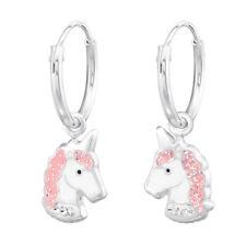 """Sterling Silver Pink Unicorn Crystals on 1/2"""" Endless Hoop Kids Earrings 3504"""
