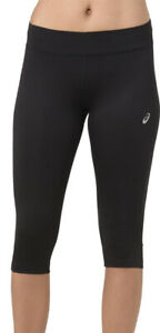 Asics Silver Womens 3/4 Capri Running Tights - Black