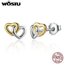 Wostu Cute S925 Sterling Silver Earrings Double Heart For Women Christmas Gift