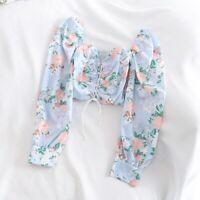 Ladies Floral Crop Top Blouse Lace Up Off Shoulder Long Sleeve Summer Beach Slim