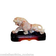 Scultura Leone Onice Narnaja con Base in Legno Wooden Base Lion Onyx Sculpture