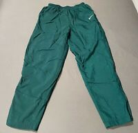 Vintage 90s Nike Nylon Green Sweatpants Size L Large Zip Ankles Embroidered