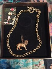 """Jay Strongwater """"Leo� Lion Charm & Chain Toggle Textured Necklace Crystals"""