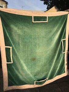 Vintage Green Velvet Bridge Poker Playing Card Table Cloth 95x95cm Needs TLC B25
