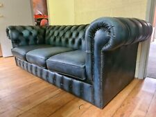 Chesterfield  3 Seater Sofa In Antique Blue Leather