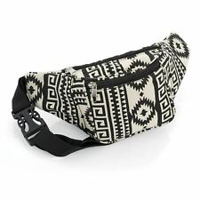 Black Abstract Bum Bag Fanny Pack Festival Money Holiday Shopping Travel Belt