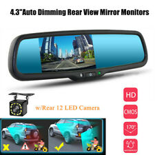 "4.3"" TFT Auto Dimming Rear View Mirror Monitor w/Rear 12 LED Camera Night Vision"