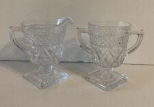 Vintage Pressed Glass Creamer Sugar Set