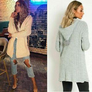 Ladies Knitted Pom Pom Hooded Cardigan Bobble Hood Long Rib Knit Jacket Coat