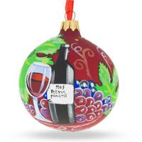Red Wine Bottle Glass Ball Christmas Ornament 3.25 Inches