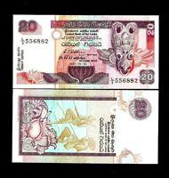 SRI LANKA 20 RUPEES P103 1991 UNC CEYLON MOON STONE DAGOBA SHRINE MONEY BANKNOTE