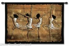 """Festive African Dancers Wall Tapestry  W/Rod  35""""x52""""  Dance Music"""