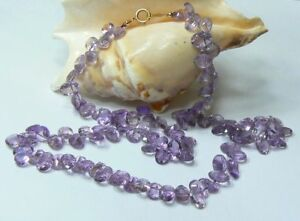 RARE GENUINE AAA GEM GRADE FACETED LAVENDER PINK AMETHYST 14K GOLD NECKLACE