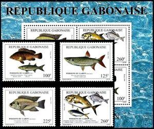 (018+150) Gabon / fish 1999 / rare / scarce ** / mnh Michel 1480-83 + BL