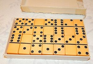 Vintage Butterscotch color Dominoes Set 28 Piece Marblelike Extra Thick