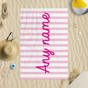 "58 x 39"" Personalised Pink Stripes Large Any Name Middle Microfibre Beach Towel"