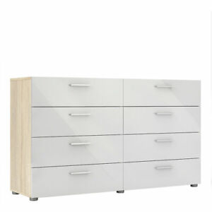 Modern Stylish Wide 8 Drawer Chest of Drawers Bedroom Furniture White & Oak