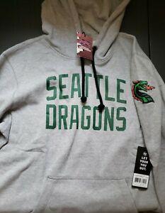 New 47 Brand Seattle Dragons Headline Hoodie Sweatshirt XFL Football Gray Sz XL