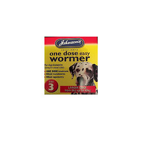 JOHNSONS 6-40kg DOG EASY WORMER SIZE 3 WORMING TABLETS KILL TAPEWORM & ROUNDWORM