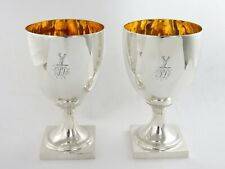 Outstanding Pair of Georgian SILVER WINE GOBLETS London 1800 Crested gilt inside