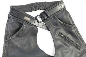 vintage USA mens harley davidson leather chaps L black WILLIE G braided trim bar