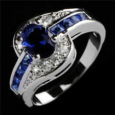Size 6-10 Blue Sapphire CZ Engagement Ring Wedding Band 10KT White Gold Filled