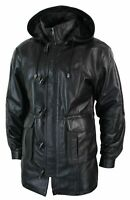 Mens Black Duffle Long Trench 3/4 Coat Detachable Hooded Genuine Leather Jacket