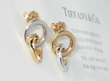 Tiffany & Co Sterling Silver 18ct 18K Gold Interlocking Circle Link Earrings