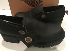 Harley Dvidson Women's Black Leather Side Car Shoes Size 4 1/2 New in Box