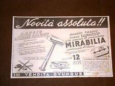 Pubblicità del 1940 Rasoio a taglio obliquo o lametta da barba Mirabilia Tema #1