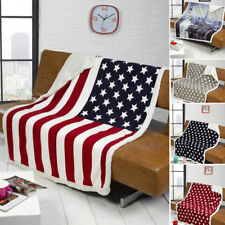 USA AMERICAN Stars & Stripes / New York Skyline Sofa / Bed Fleece Throw Blanket