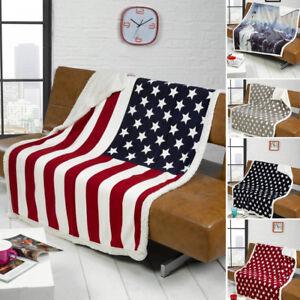 USA AMERICAN Stars & Stripes / New York Skyline Sofa / Bed Fleece Throw Blanket