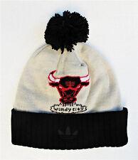 Chicago Bulls Black On Beige Large Beanie Knit Cap Hat Vintage 1966 by Adidas