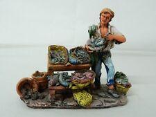 Statua ceramica Pescivendolo Scuola di Caltagirone Lavorato a mano OMA19