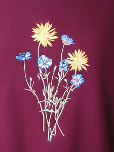 LADIES,WOMENS,NAVY,EMBROIDERED SWEATSHIRTS,TOPS,JUMPERS,WITH DAISY CORNFLOWER