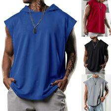 Men Hooded Vest-Tank Tops Bodybuilding Sleeveless Gym Training Muscle T-Shirt