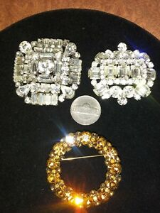 LOT OF 3 VINTAGE SIGNED RHINESTONE BROOCH PIN WARNER WEISS - Excellent Cond Wow!