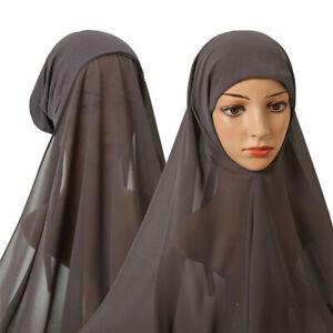 One Piece Muslim Women Convenient With Rope Inner Hijab Chiffon Shawl Elastic Ca