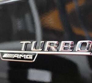 2X Original Genuine Mercedes AMG Turbo Emblem Badge Set